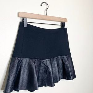 Zara Lambskin Leather Ruffle Mini Skirt